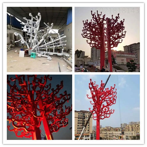 许昌开发区景观不锈钢树雕塑 烤漆雕塑厂家安装