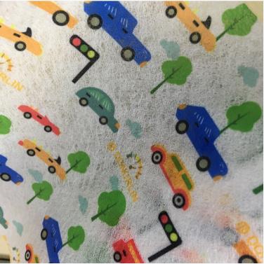 福建批发 口罩布 卡通印花水刺布 可定做图案