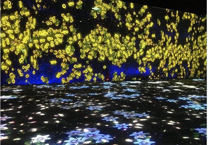 山东济南全息投影沉浸式投影酒店展厅360度全息展柜地面墙面投影互动