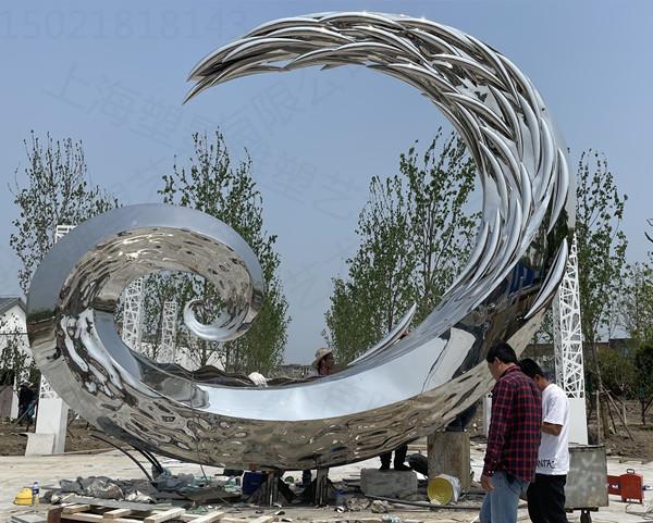 麗江廣場不銹鋼鏡面月亮雕塑 藝術景觀圓環雕塑定制