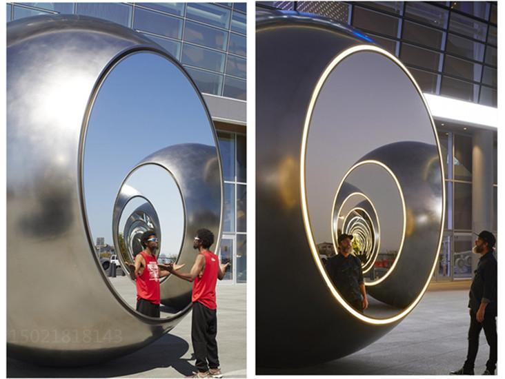 許昌公共藝術裝置 鏡面燈光球雕塑 拋光鋼制球雕塑定制