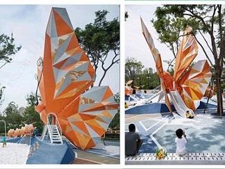 陜西大型社區廣場 不銹鋼蝴蝶滑梯雕塑 彩繪動物雕塑擺件
