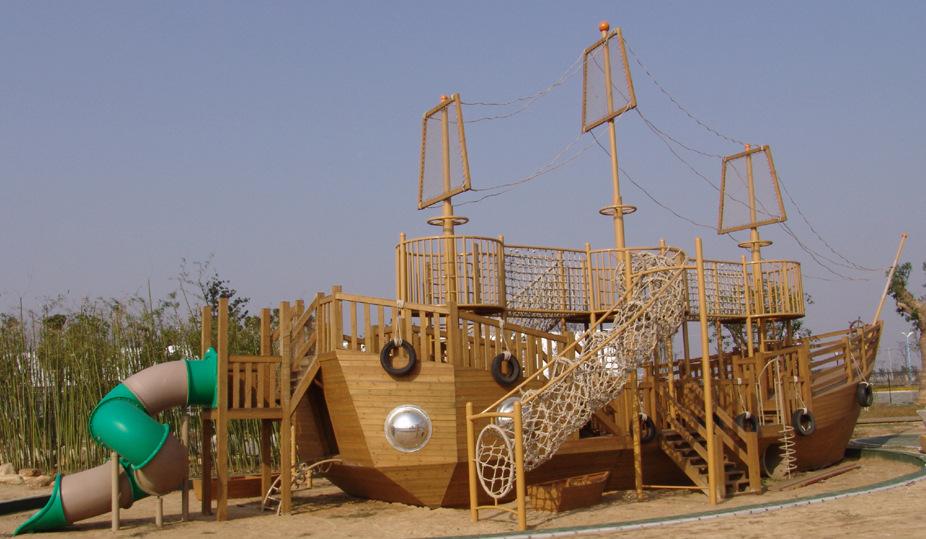 大型海盜船游樂設備定制 木制攀爬網組合滑梯 室外游樂場游樂設施