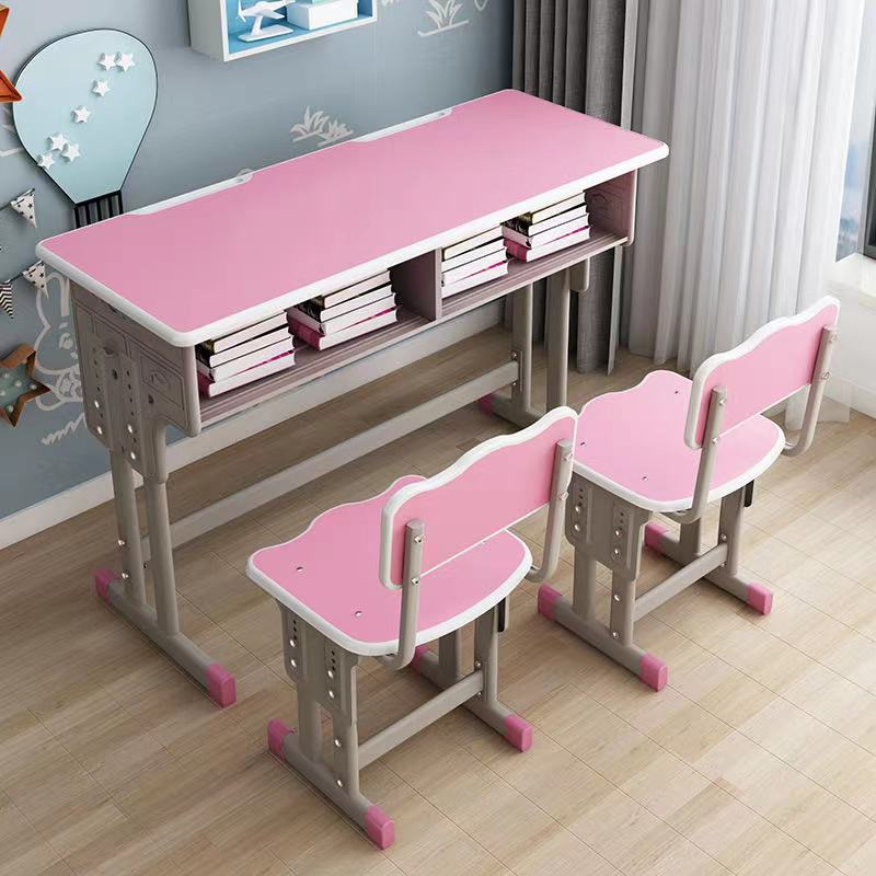 世騰金屬雙層帶抽屜課桌 補習班輔導單人雙人書桌定制