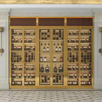 不銹鋼酒柜定制恒溫佛山玻璃輕奢現代簡約酒架碧展示柜客廳紅酒柜