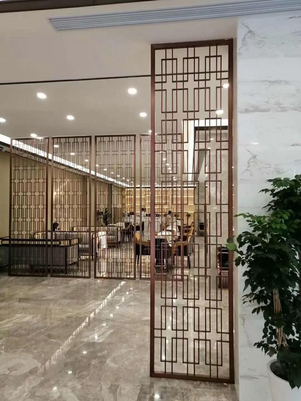 不锈钢屏风隔断钛金客厅现代简约轻奢花格入户欧式玄关 镂空 雕花